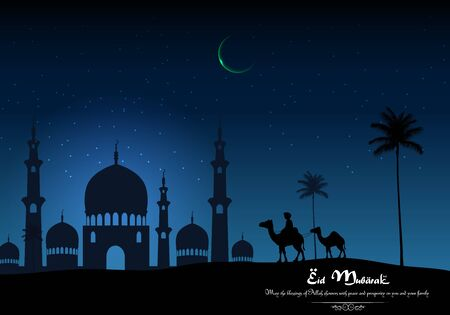 night and day: Eid mubarak with camel walks through and mosque in desert on night day