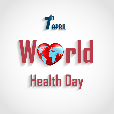 World health day concept with text heart