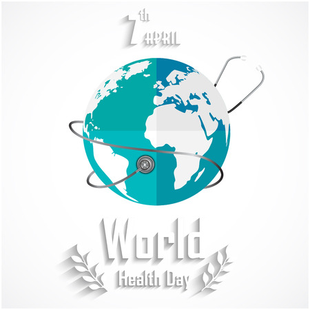 World health day concept with globe and stethoscope