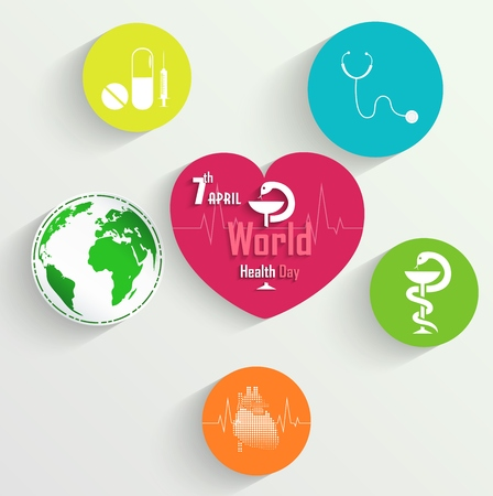 environmental awareness: Sticker with medical tools, medicine and globe for World Health Day concept Illustration