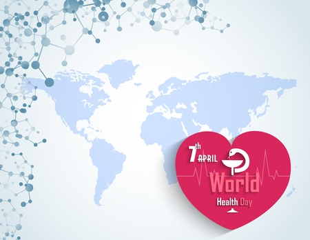 medicate: World health day concept with DNA and a heart