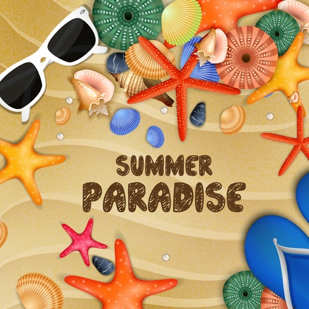 flipflops: Starfish, shells and Flip-flops on sand background Illustration