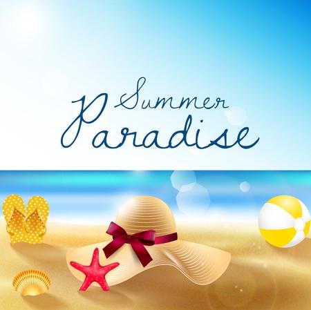 Summer beach of sandy beach, straw hat, sandals, beach volleyball, shells and starfish Stock Photo
