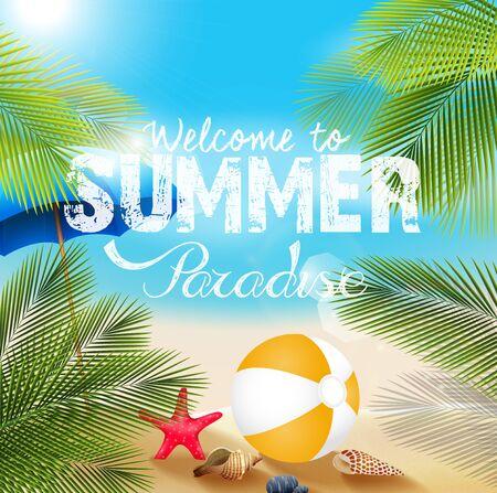 Sommer Strand mit Beach-Volleyball und Seestern