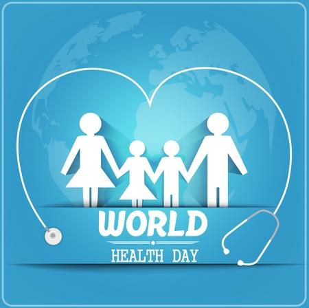 Concetto di giorno della salute mondiale con la famiglia sana sotto lo stetoscopio e globo Archivio Fotografico - 55687110
