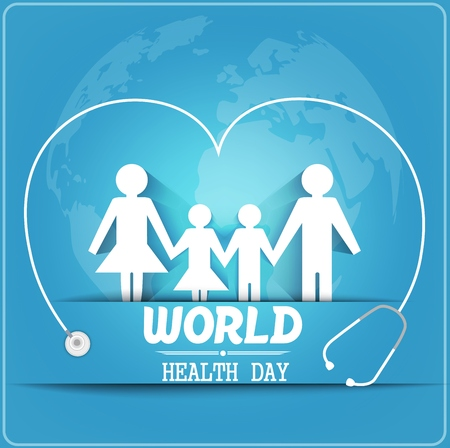 healthy family: World health day concept with healthy family under stethoscope and globe