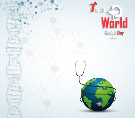 medicate: World health day concept with DNA and globe
