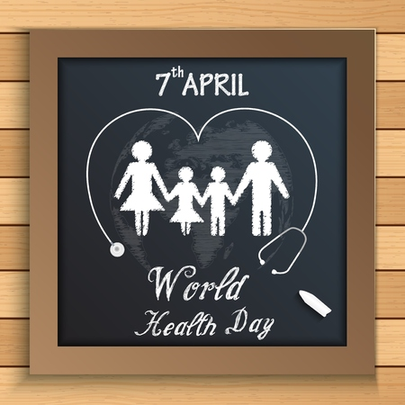 healthy family: World health day concept with healthy family under stethoscope on blackboard on wooden table Illustration