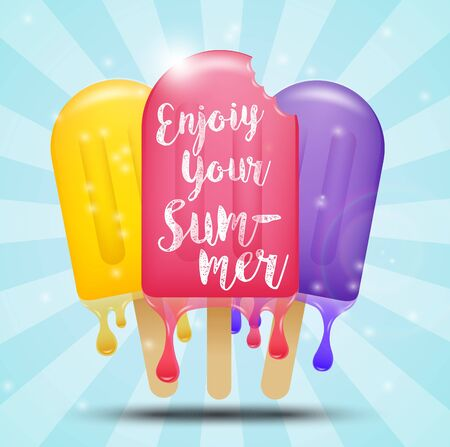ice cream bar: Colorful ice cream bar on a stick, summer concept Stock Photo