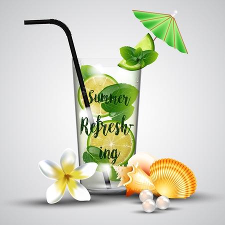 refreshing: Summer refreshing tropical lemonade Illustration