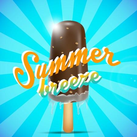 breeze: chocolate ice cream bar on a stick, summer breeze concept