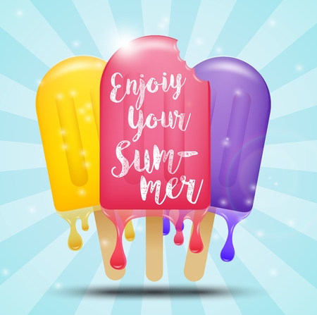 ice cream bar: Colorful ice cream bar on a stick, summer concept Illustration