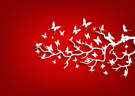flaying: Paper tree and butterflies on red background
