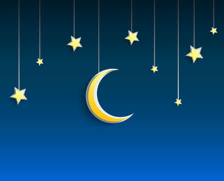 crescent moon: Stars and crescent moon hanged a rope on blue background