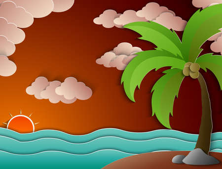 beach sunset: Coconut palm tree and beach sunset Stock Photo