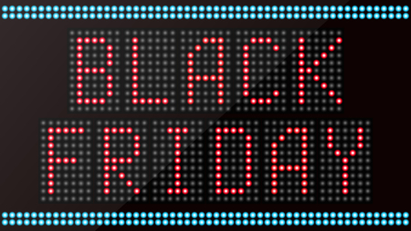 led: LED digital the word black friday on black background
