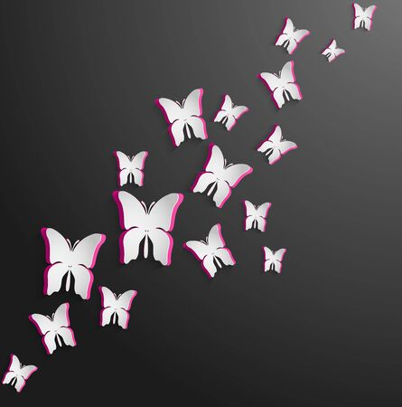 pink and black: White pink paper butterfly on black isolated background