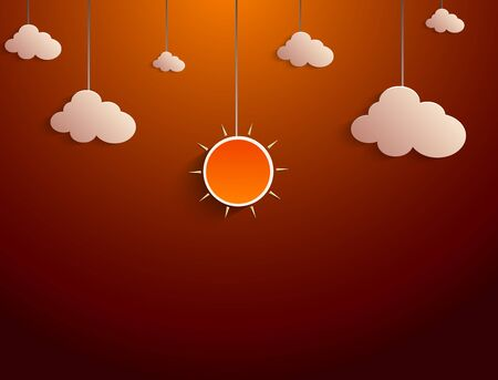 hanged: Paper sun and clouds hanged a rope