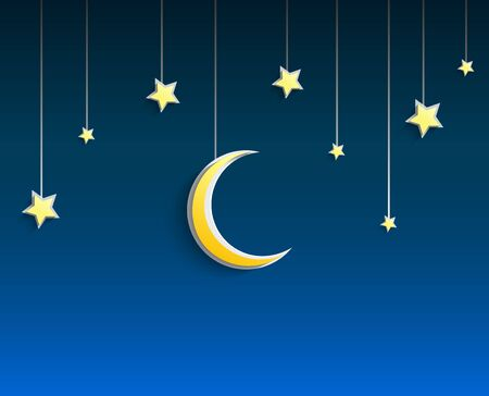 hanged: Stars and crescent moon hanged a rope on blue background