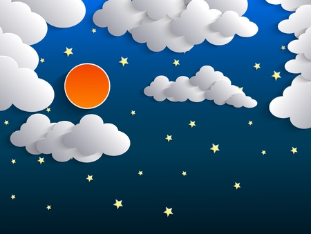 fantasy background: Night background, Moon, Clouds and Stars on dark blue sky Illustration