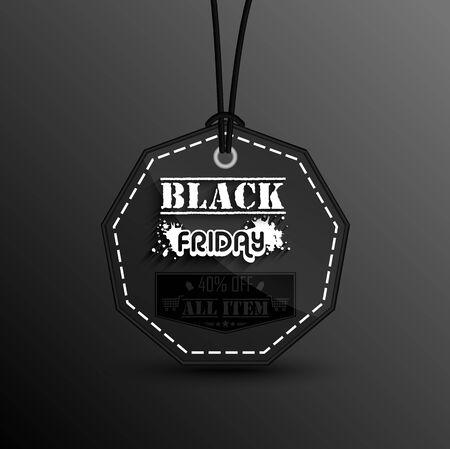 black: Black friday Price sticker on black background