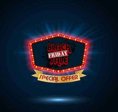 light show: Black Friday retro light frame