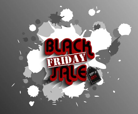 the ink blot: Black friday label template set for advertising sale print with white expressive ink blot splash