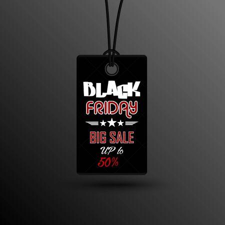 tally: Black friday sale sticker label Illustration