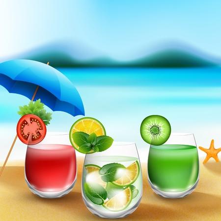 garnished: Summer drinks in sand on blurred beach background