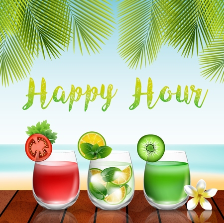 garnished: Summer drinks on the table in beach background