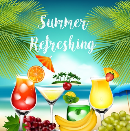 summer fruits: Summer holidays with palm tree, cocktails and fruits Illustration