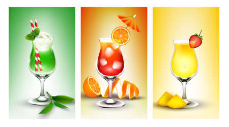 fruit juice: Fresh banner set of fruit juice Stock Photo