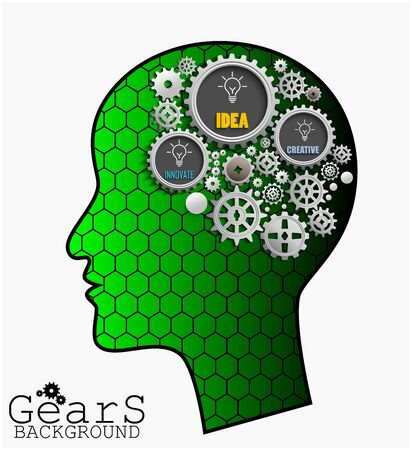 innovate: Gear background inside green head brain, idea, innovate and creative
