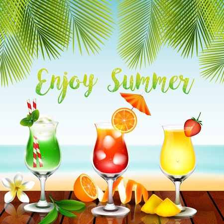sliced tree: Vector illustration of Summer drinks on the table in beach background