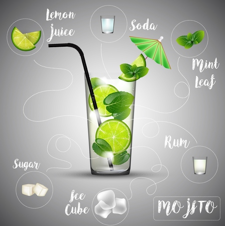Vector illustration of Soft cold fresh alcohol drink with ice and mint - Mojito