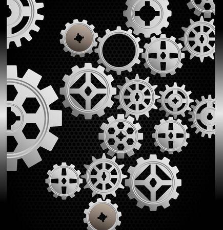 Vectorillustratie van Gears achtergrond op zwarte achtergrond