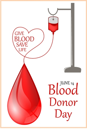 transfuse: Vector illustration of Donate blood concept with Blood Bag and heart.World blood donor day-June 14