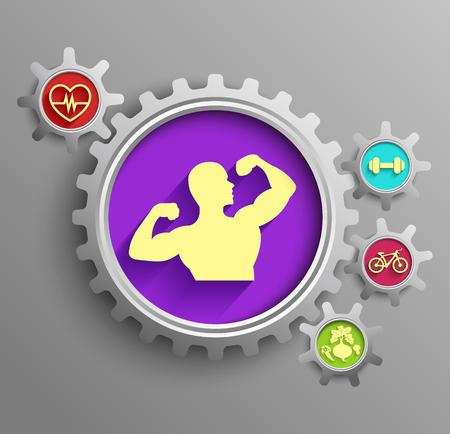 sprocket: Vector illustration of a bodybuilder set inside sprocket gear cog on isolated purple background Illustration