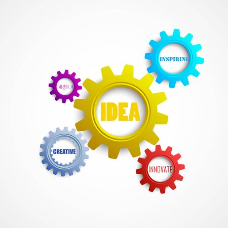 inspiring: Vector illustration of Colorful Gears with the words creativity, innovation, idea, strategy and inspiring