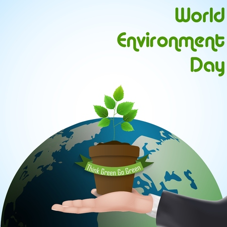 green ribbon: Flower Pot with green ribbon concept over hand for world environment day Stock Photo