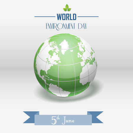 Vector illustration of World Environment Day concept with shiny globe and ribbon on grey background Vectores