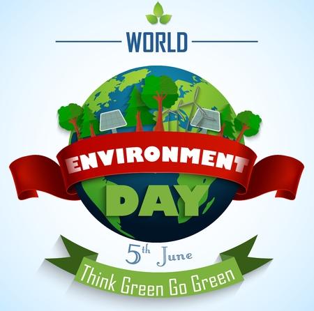 Monde 5ème journée de l'environnement juin avec Red et rubans verts Vecteurs