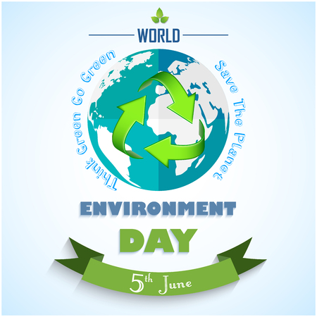 international recycle symbol: Vector illustration of World environment day background with green arrows