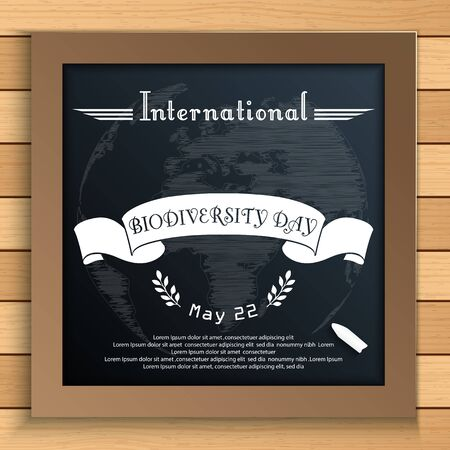 white ribbon: Biodiversity international day with Earth and white ribbon on blackboard Stock Photo