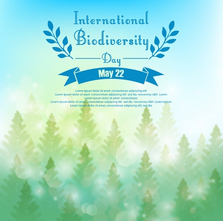 biodiversity: Biodiversity background with palm trees and ribbon
