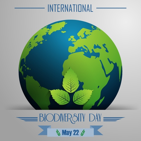 biodiversity: Vector illustration of Biodiversity international day background with globe and leaves