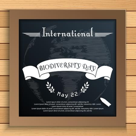biodiversity: Vector illustration of Biodiversity international day with Earth and white ribbon on blackboard Illustration