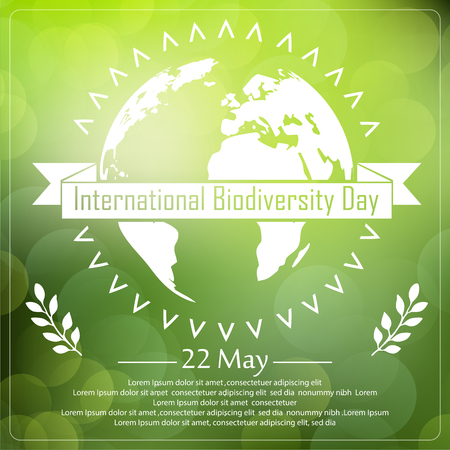 biodiversity: Vector illustration of Biodiversity background with earth and ribbon a shape typography Illustration
