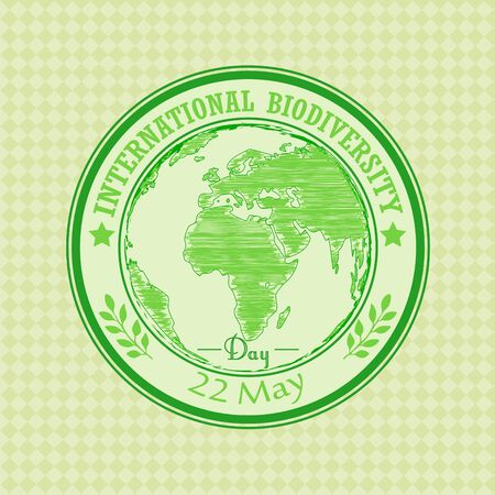 biodiversity: Vector illustration of Green grunge rubber stamp with the text Biodiversity international day 22 May written inside
