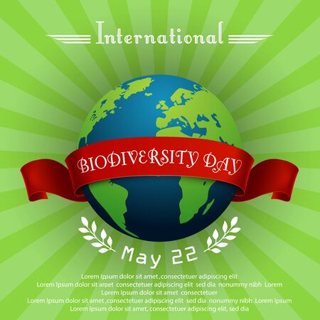 biodiversity: Vector illustration of International Biodiversity Day concept with globe and red ribbon
